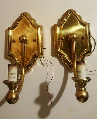 Pair of Brass Gold Electric Incandescent Candle Light Wall Sconce Fixtures Shape