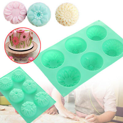 Flower Shaped Silicone Handmade Soap Candle Cake Mold Mould Random Color