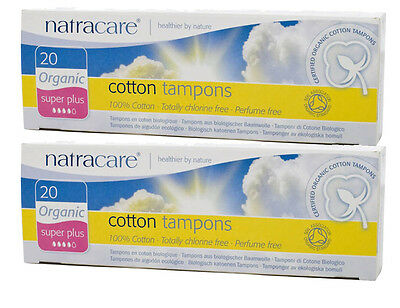 Natracare Organic Tampons SUPER PLUS 2 x 20s Non-Applicator - DISCONTINUED LINE