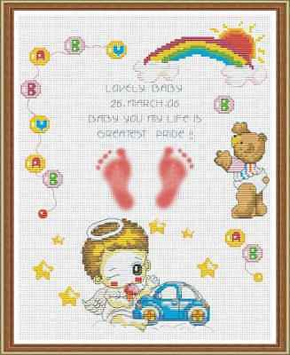 Counted Cross Stitch Kit - Baby Sampler