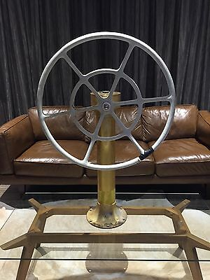 Vintage YACHT STEERING WHEEL on METAL STAND Boat/Maritime