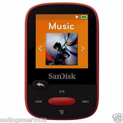 SanDisk Clip Sport 4GB MP3 Player RED With LCD Screen and MicroSDHC Card Slot