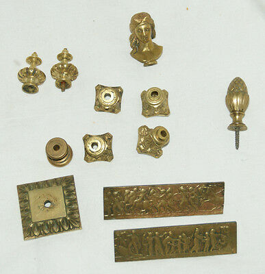 Good Mixed Collection Of Antique Brass Clock Finials/Adorments