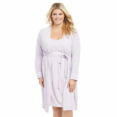 Oh Baby by Motherhood - Maternity Gown Nightgown Lounge Robe - Sz Large - Lilac