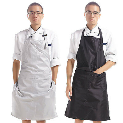 Unisex Chef PVC Kitchen Waterproof Aprons Bib Boucher Pocket Black Cooking New