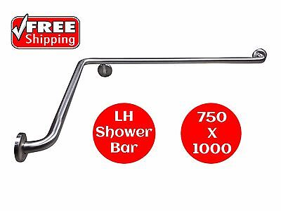 CORNER SHOWER GRAB BAR LEFT HAND DISABLED HANDRAIL SAFETY RAIL 750 x 1000