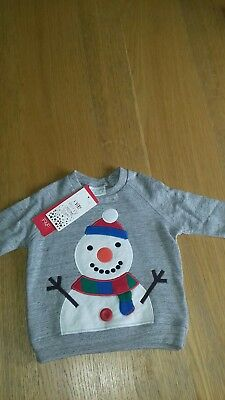 baby boys snowman sweat top age 3-6months