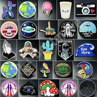 Hot Clothing Patches Iron On Embroidered Appliques DIY Apparel Fabric Hat Badge