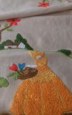 Vintage hand stitched runner with crinoline ladies