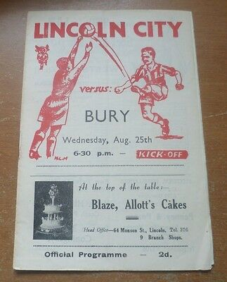Lincoln City v Bury, 1948/49 - Division Two Match Programme.