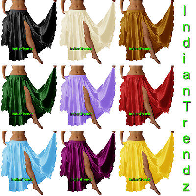 Satin 2 Front Slit Full Skirt Belly Dance Gypsy Tribal Costume 9 Yard Boho Jupe