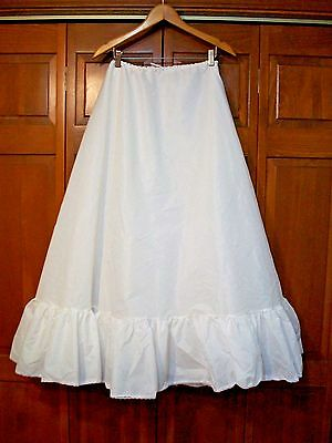 No Hoop 2 Layer Silky White Crinoline Wedding Dress Slip~Drawstring Waist~S~M~L~