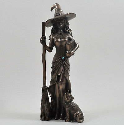 Cold Cast Bronze Witch With Cat Figurine Statue Sculpture Pagen