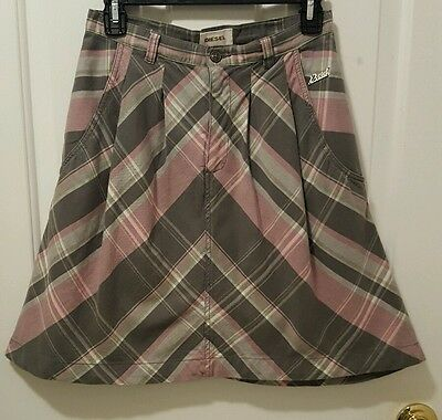 Diesel Women's Pink Plaid Pleated Skirt With Pockets Size 26