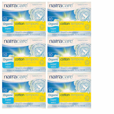 Natracare Organic Tampons SUPER  6 x 10s Non-Applicator - DISCONTINUED LINE