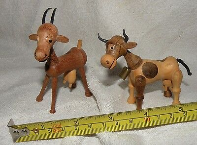 Vintage Wood Carving ( pair of Billy Goats) Made in Spain