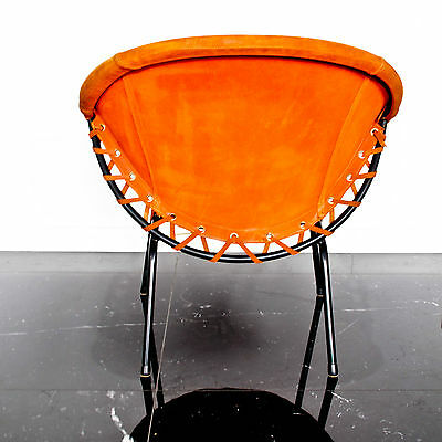 Orange Suede UFO BALLOON chair for Lusch & Co Germany  - Danish Vintage Retro