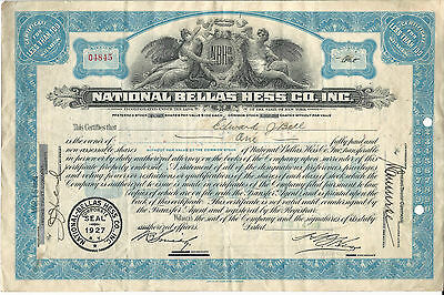 NEW YORK National Bellas Hess Company Inc Stock Certificate 1929