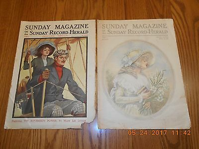 Vintage 1911 Sunday Magazines of Chicago Sunday Record-Herald - March & April