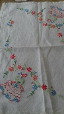 Vintage hand stitched tray cloth. Crinoline ladies