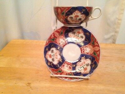 Old Vintage Asian Tea Cup & Saucer Set Hand Painted Art Japan