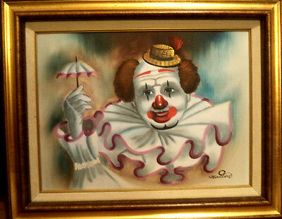 Signed Framed Oil On Canvas Clown Painting *** Masson *** Oil Certified