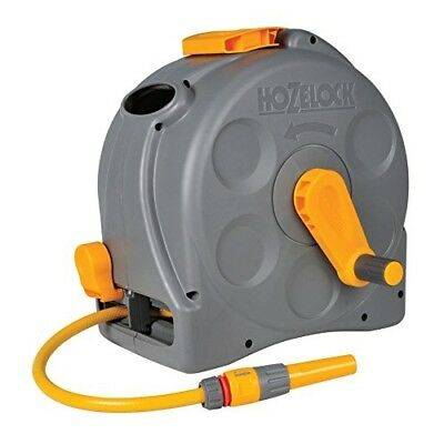 Hozelock 2-in-1 Compact Enclosed Hose Reel with 25 m Hose and Connectors