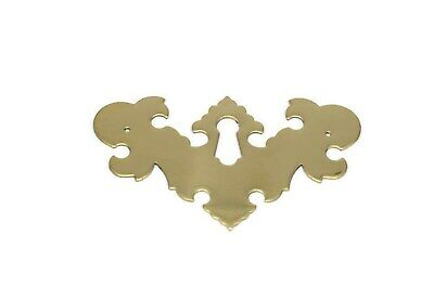 Chippendale Victorian Drawer Pull Matching Keyhole Cover, Solid Brass