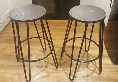 2 Black Hairpin Metal Bar Stools with Round Black Wood Seat