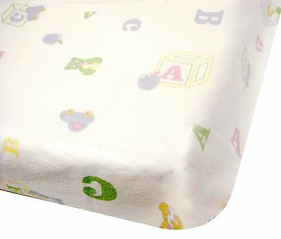 """Flannelette Flat """"ABC"""" Printed Sheets for Cot/Cotbed - (2 Pack)"""