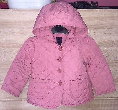 Girls BABY GAP Designer Jacket / Coat Age 3 Years VGC Padded Hooded Pockets