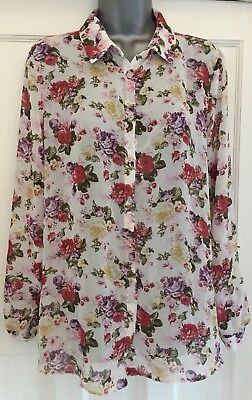 NEW LOOK White Mix Floral Sheer Long-Sleeve Collared Maternity Shirt Size 14