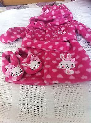 Dressing Gown And Slippers 3/6 Months