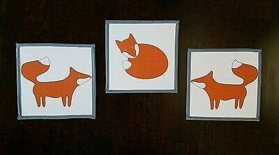 Bacati Playful Fox 3 Piece Wall Decor Art Nursery Orange Grey Woodland Animals