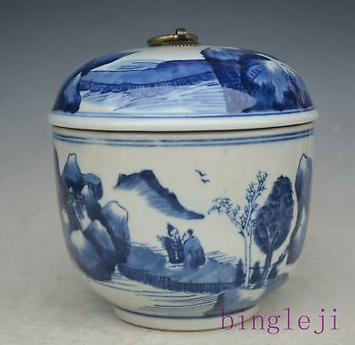 """6.7""""Chinese Blue and White Porcelain Handmade Jar Pot Cans Jug Tank"""