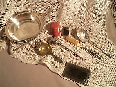 Vintage Lot Of 8 Misc.-2 Sterling- 6 S.p.- Germany Jiggers-Mirror-Tea Strainers