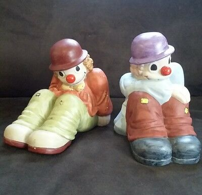 Fitz and Floyd Ceramic Clown Book Ends VINTAGE