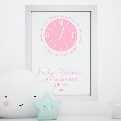 Personalised Newborn Baby Boy Girl Birth Time Date Clock Print Frame Gift