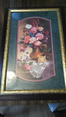 Home Interior floral with vase and lace dollie, boy with dog  23 3/4  x 15 1/2