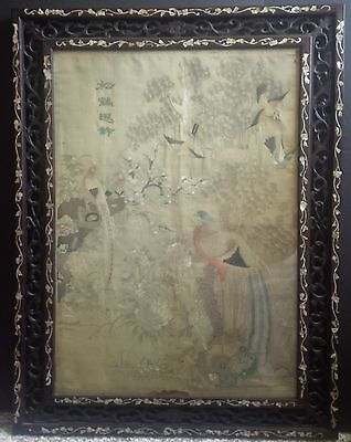 An old Chinese silk embroidery framed hanging screen