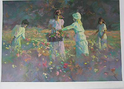 """""""Children in the Meadow"""" by Don Hatfield Original Limited Edition Serigraph"""
