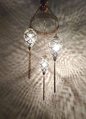 BR404 Mosaic Moroccan 3Lights Cluster Ceiling Fixture Poly Brass Step Chandelier