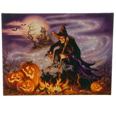 "H3611410 RAZ 24"" Jack-O-Lantern Witch Cauldron Lighted Canvas Painting Picture"