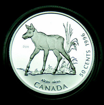 1996 Baby Moose - 50¢ silver BU proof from the Little Wild Ones series #3