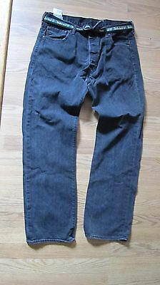 Levi Strauss Authentic 501 Jeans Denim 36x32 Black