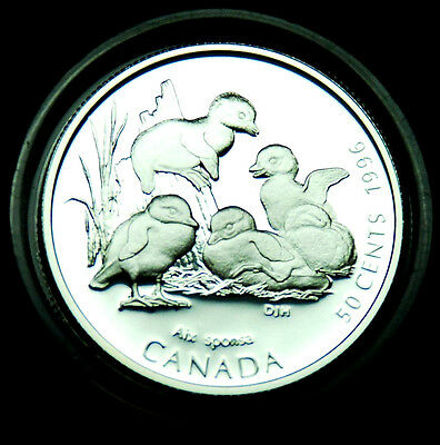 1996 Baby Wood Ducks - 50¢ silver BU proof from the Little Wild Ones series