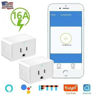 2 Pack Smart WiFi Plug Outlet Swtich Work With Echo Alexa Google Home App Remote