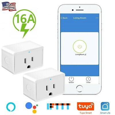2 X Smart WiFi Plug Outlet Swtich Work With Echo Alexa Google Home App Remote