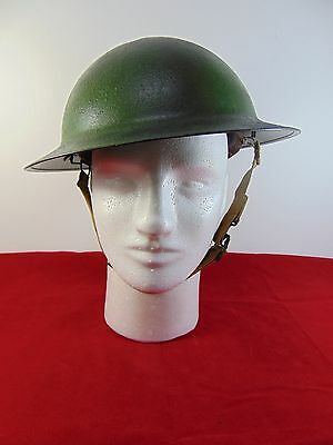 Original U.S. WWII M1917A1 Kelly Helmet With Liner - Camouflage Repainted Shell