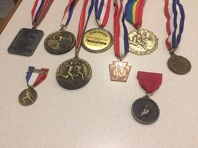 Collection of Running/Marathon Ribbons (7) and (2)Pins - Vintage